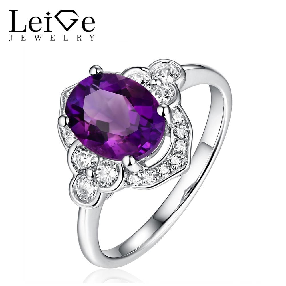 Leige Jewelry 925 Silver Purple Amethyst Ring Натуральне - Вишукані прикраси
