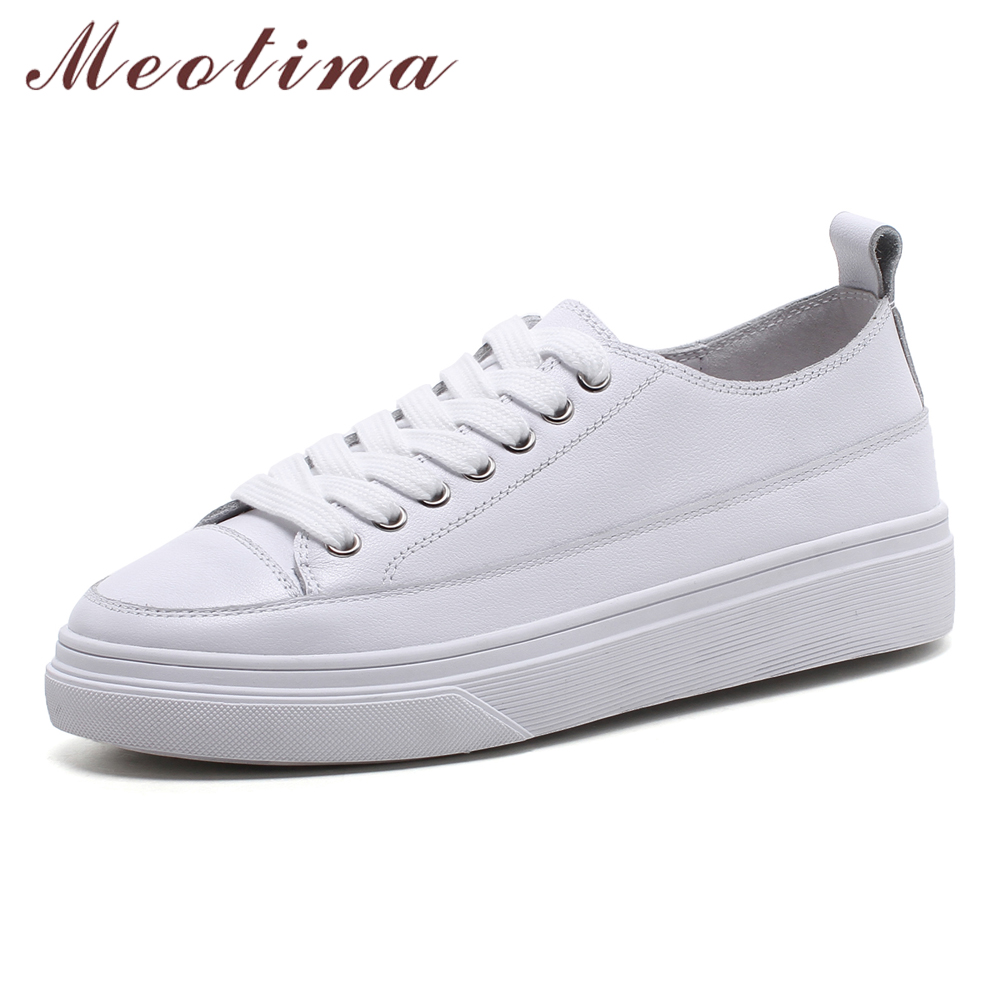 Meotina Platform Shoes Women Natural Genuine Leather Flat Casual Shoes Real Leather Lace Up Round Toe Ladies Flats Spring 35-39