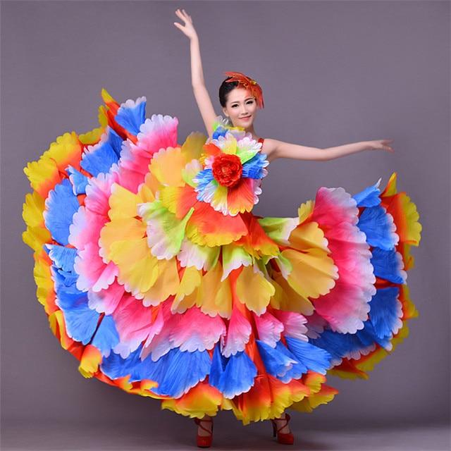 5c75fe1db11f 720 Degree Women Spanish flamenco costume Bullfight Dance Dress Long robe  Flamenco fille Red Flamenco Dresses