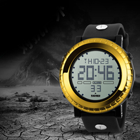 Giallo orologio digitale da polso top brand di lusso degli uomini di sport outdoor orologio da polso in silicone regolabile auto racing orologi con allarme 2018