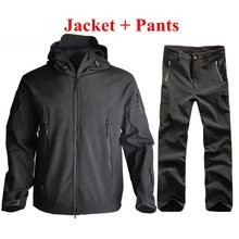 TAD Men Outdoor Sport Fleece Jacket + Pants  Softshell Tactical Suits Hunting Clothes Waterproof Hiking Camping Coat
