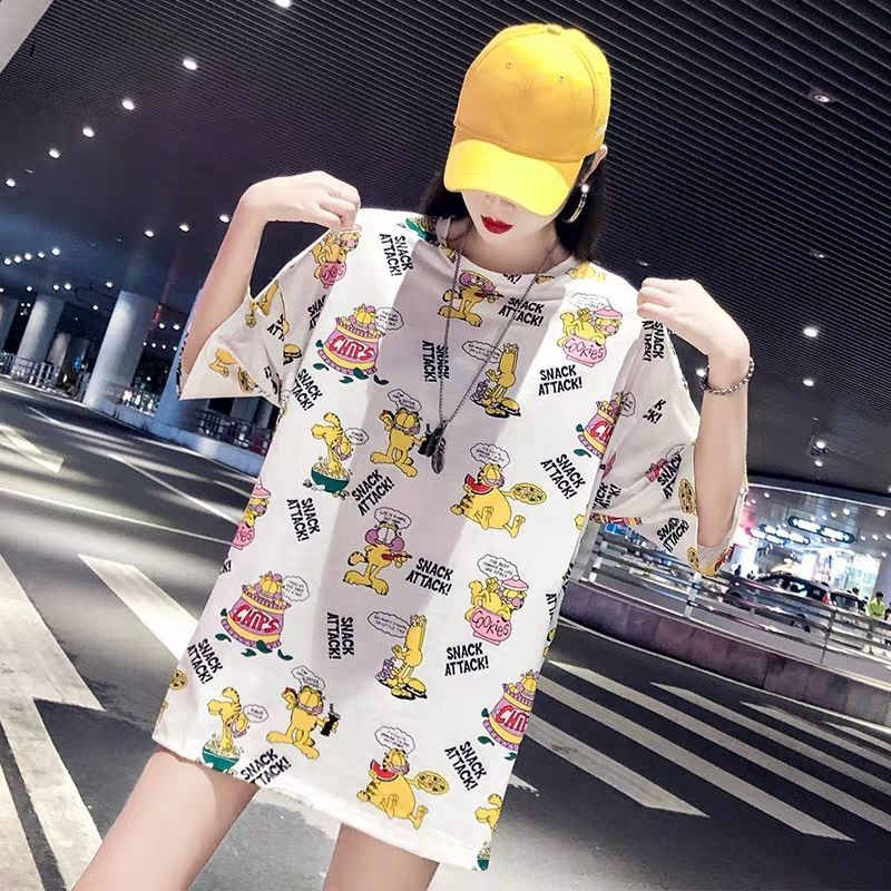 2019 Summer New Fashion Women Slouchy Short Sleeve Cartoon Printing Casual Holiday Top Shirt Boyfriend Style Loose Tops T Shirt