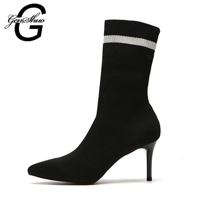 GENSHUO Women Sock Boots High Heel Mid Calf Boots New Sexy Pointed Toe Elastic High Boots Slip On Stiletto Botas Women Pumps