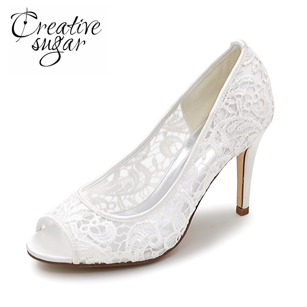 Creativesugar Elegant lace see through breathable mesh open peep toe woman pumps bridal wedding party dress shoes ivory white