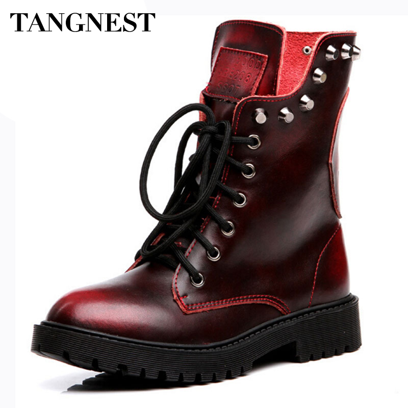 Tangnest Women Boots Genuine Leather Women's Ankle Boot Fashion Rivets Lace-up Platform Shoes Classic Martin Boots Woman XWX4082 fashion british style men s genuine matte leather boot shoes casual lace up male martin ankle chunky booties homme s4472
