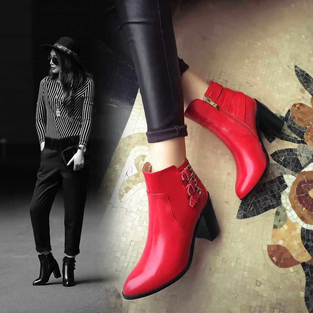 Autumn And Winter Womens Casual Fashion Dress Shoes Pointed Toe Belt Buckle Ankle Boots Chunky High Heel Booties