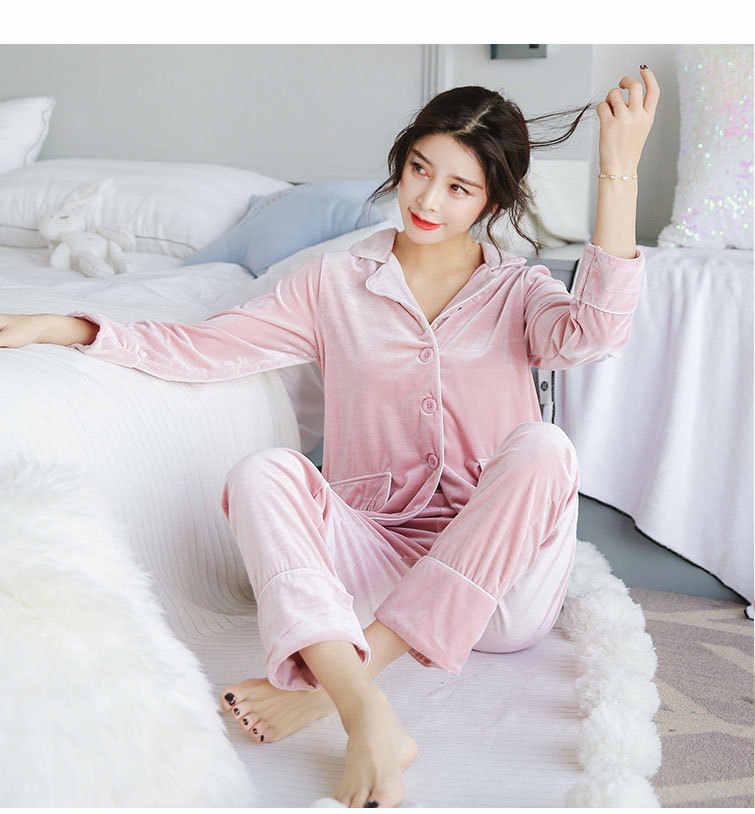 bc0ef11d855 ... Fdfklak Gold Velvet Soft Pajamas Set Women Long Sleeve Autumn Winter  Sleepwear Pyjamas Women Warm Two ...