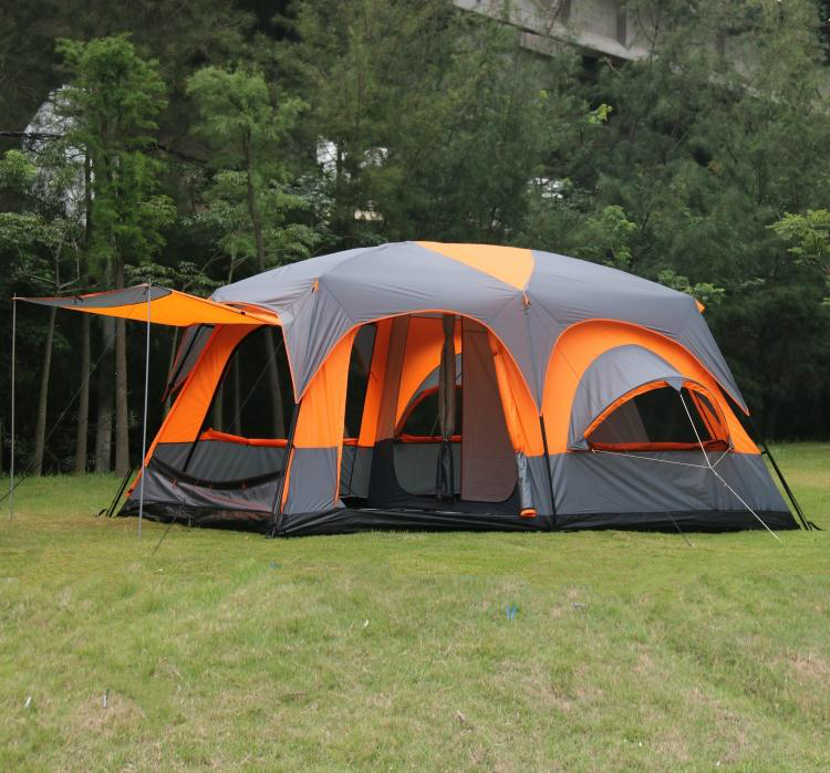 Nice 6 8 10 12 Person 2 Bedroom 1 Living Room Waterproof Party Family Hiking  Fishing Beach Outdoor Camping Tent In Orange/grey Color In Tents From  Sports ...