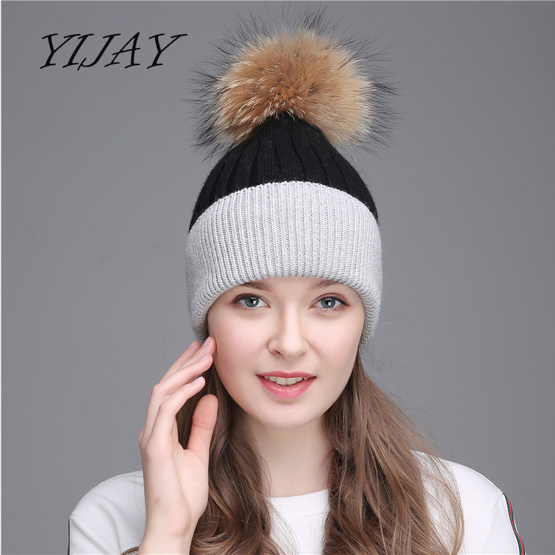 Women winter raccoon wool furpom pom hat female women warm knitted casual double color   skullies     beanies