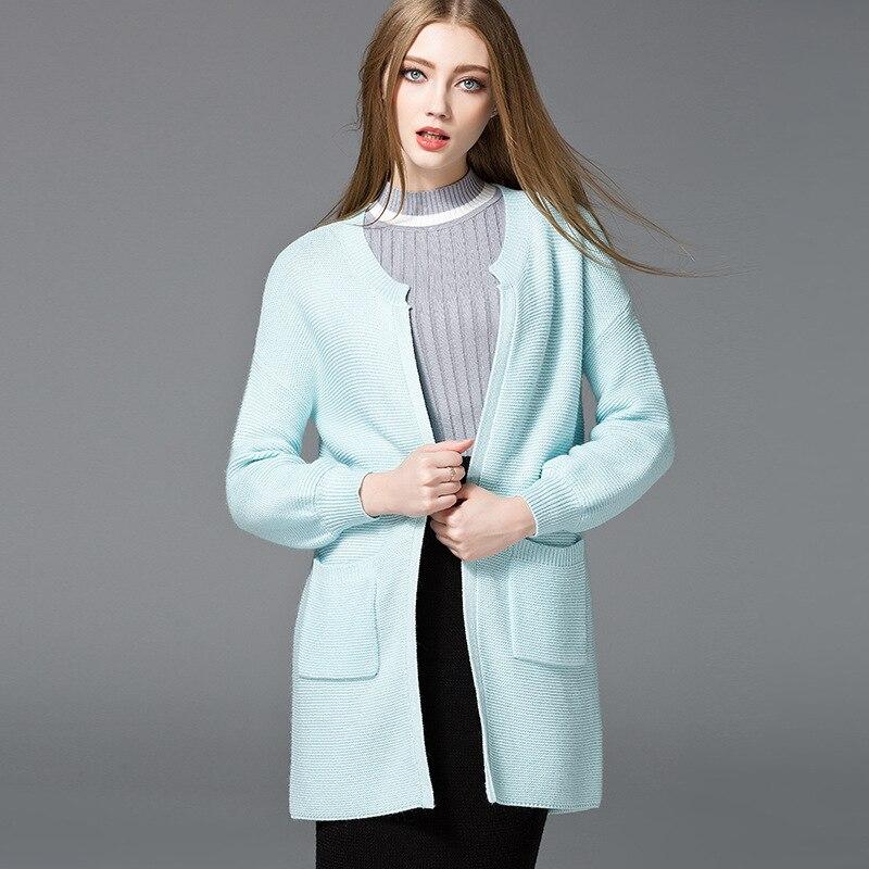 Bleu ciel cardigan chandail femmes tricoté chandails femme surdimensionné longue mode 2019 printemps automne plus grande taille mince