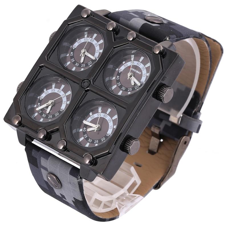 Shiweibao Quartz Watches Men Watch Luxury Brand Four Time Zones Military Wristwatches Camouflage Strap Sports Reloj Hombre New