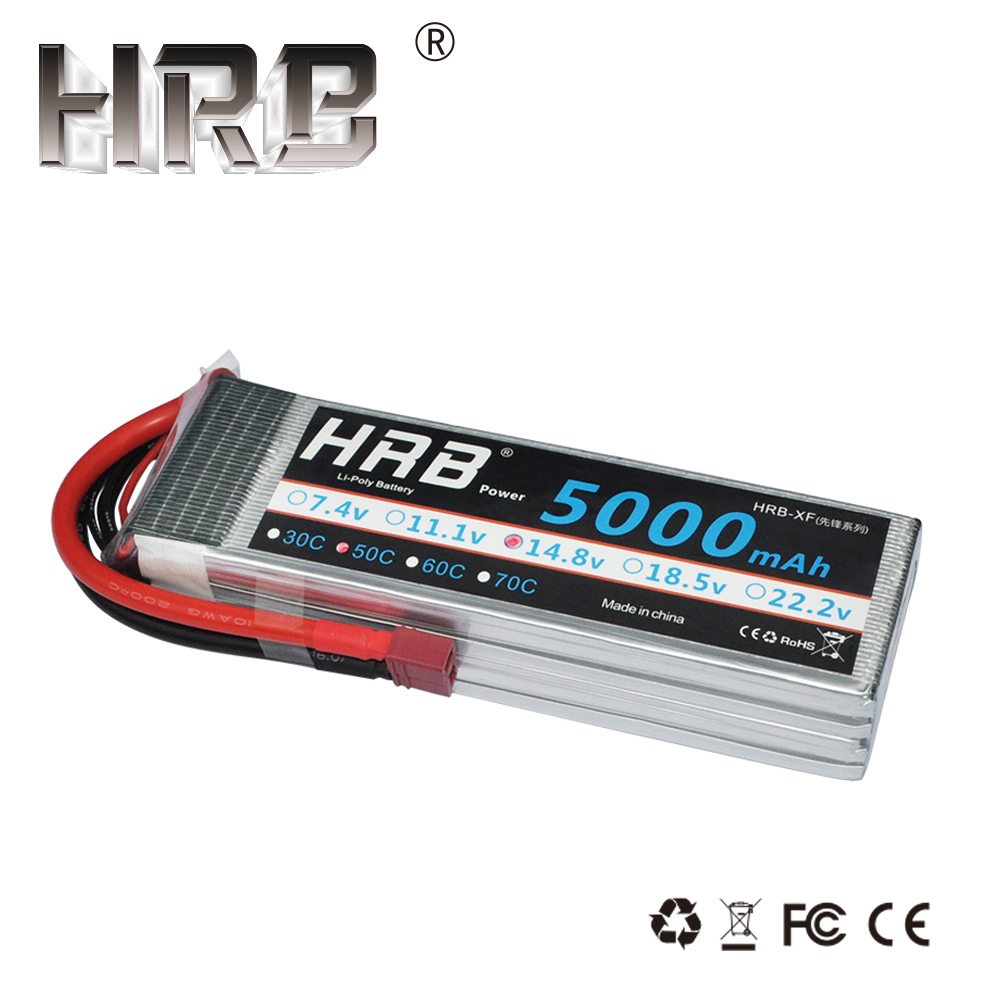 HRB Lipo Battery 4S 14.8V 5000mah 50C EC5 XT90 TRX XT60 Deans T RC Parts for VKAR BISON Buggy Crawler Car Airplane 1/10 4WD AKKU