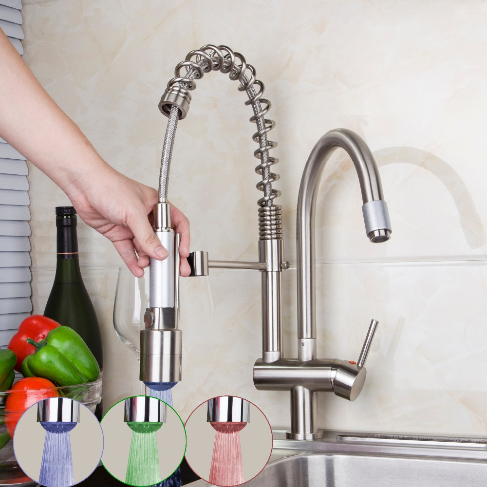 New Pull out Down Kitchen Faucet Brushed Nickel LED Light  Swivel Sink Basin Brass Torneira Cozinha Tap Mixer Faucet 8525-7D kitchen faucet led light pull out chrome swivel 360 single handle deck mounted basin sink torneira cozinha tap mixer faucet