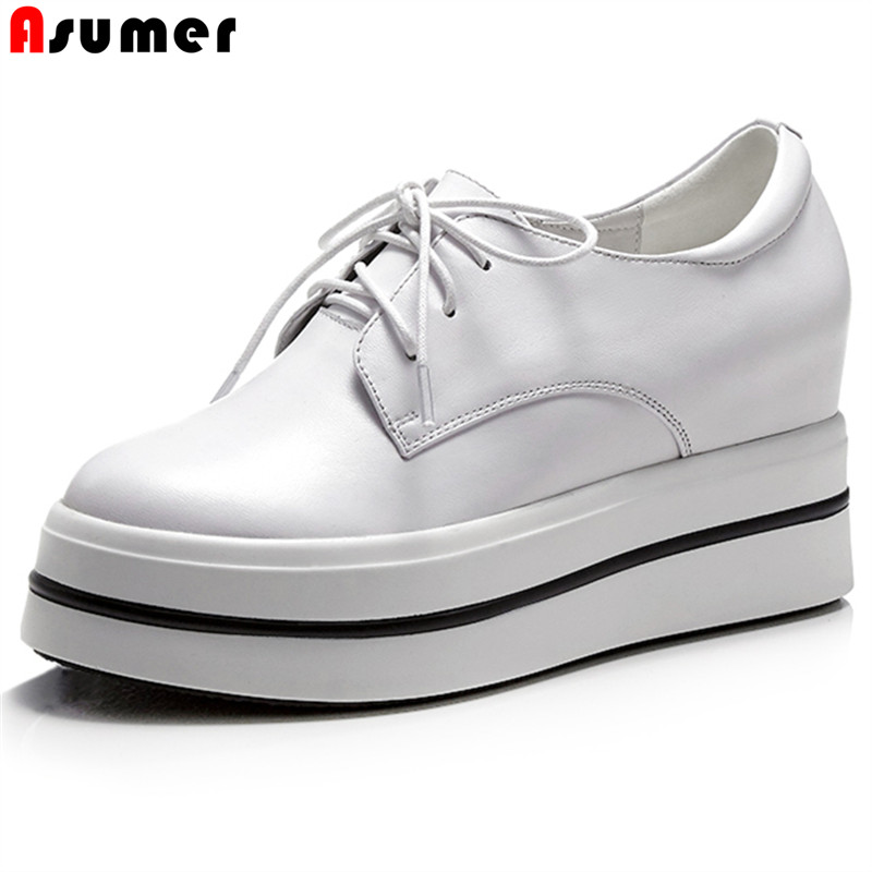 Asumer 2018 new Increased Internal shoes woman platform lace up round toe genuine leather women pump high heel shoes black white casual increased internal and lace up design athletic shoes for women