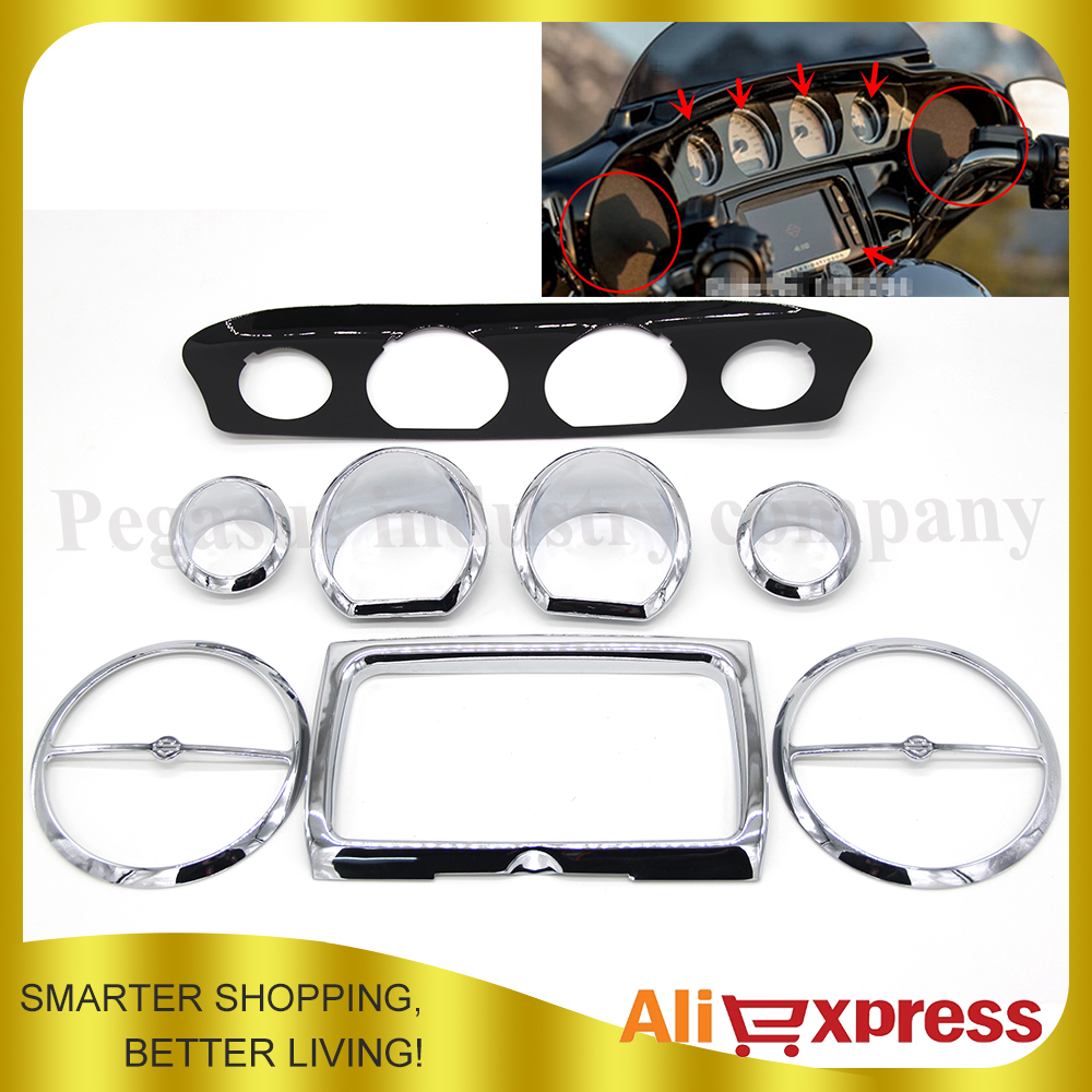 100% Brand New Chrome Deluxe Stereo Accent Trim Ring Speaker Cover Kit For Harley Touring Electra Street Glide 2014-2016 brand new wf20x widefield stereo