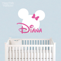 Mini Mouse Wall Sticker Custom Name Wall Decal DIY Girls Name Wall Decor Kids Baby Nursery