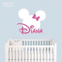 Mini Mouse Wall Sticker Custom Name Wall Decal DIY Girls Name Wall Decor Kids Baby Nursery