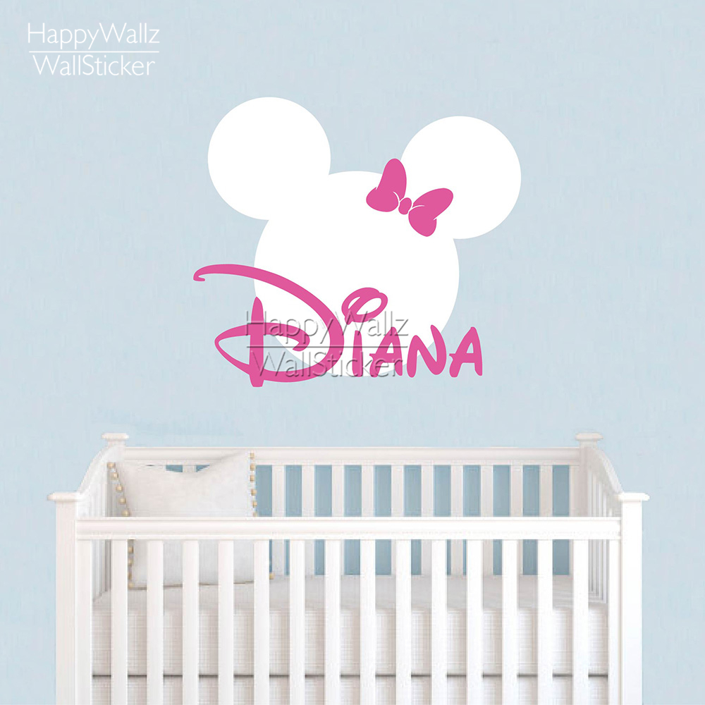 Mini Mouse Wall Sticker Custom Name Wall Decal DIY Girls Name Wall Decor Kids Baby Nursery Removable Wall Decoration 526C