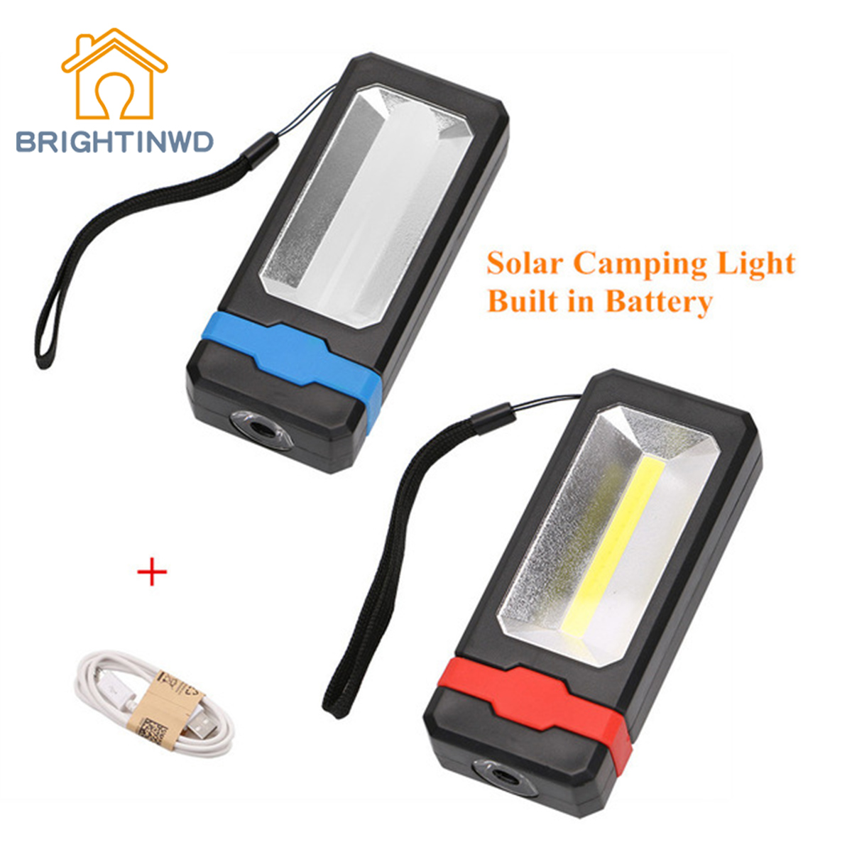 BRIGHTINWD 2LED Outdoor Camping Light Solar Powered Magnetic Work Light Lamp Portable Power Phone USB Charging Camping Lantern