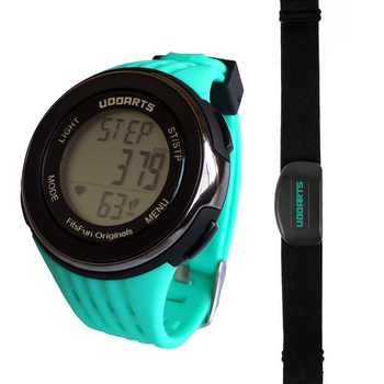 [Upgraded]Udoarts HRM with Pedometer- Heart Rate Monitor Watch & Chest Strap 2 &Pack of 5 Batteries &Screwdriver