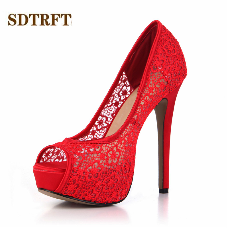 SDTRFT Summer Stilettos 14cm Thin High Heeled Peep Toe LACE shollow out shoes woman sexy Lady Platforms Bridal pumps Plus:35 43