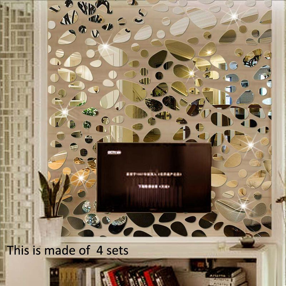 18PCS Mirror Decals Wall Stickers - Cobblestone Shape DIY Decor for Home Room Bedroom Office Decoration Silver