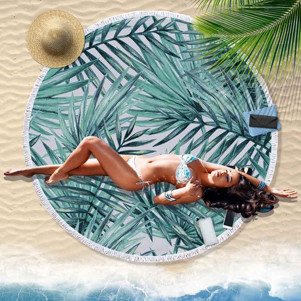 1 Pc Gedrukt Tropische Bladeren Bloem Strandlaken Ronde Polyester Strand Handdoeken Voor Woonkamer Home Decor Boho Stijl Bad Handdoeken Zonden En Botten Versterken