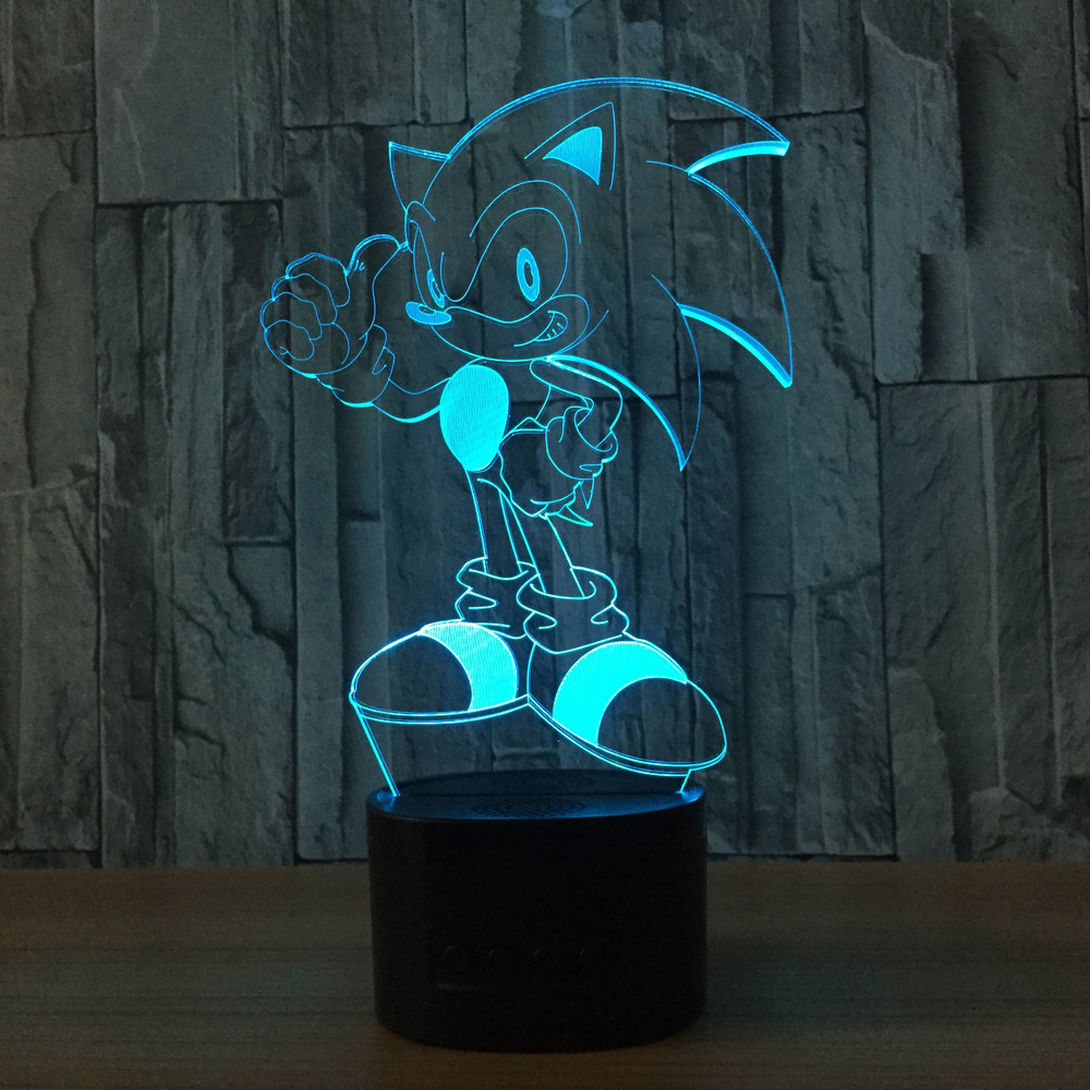 Sonic The Hedgehog Action Figure Sonic 3D Nightlight Visual Illusion LED 7 color Changing Lamp Sonic Model Toy Doll image