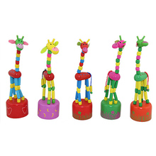 Products for Children Wooden Giraffe Toys Funny Goods Rocking Toy Animal Dancing Standing Handcrafted Random Color