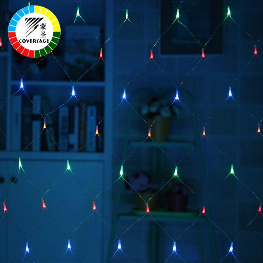 Coversage 1,5X1,5 m guirnaldas de Navidad cadena LED Red de Navidad luces hadas fiesta de Navidad jardín decoración de boda cortina luces
