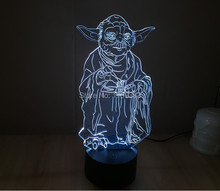 Free Shipping 1 Piece 3D led Mood Lamp Bulb Lighting Star Wars Master Yoda LED little Night Light holiday decoration light
