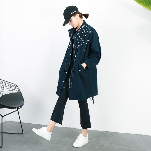 [Soonyour] 2017 de invierno nueva sección larga coreana de cuentas cordón de la cintura denim chaqueta rompevientos para las mujeres ks2186