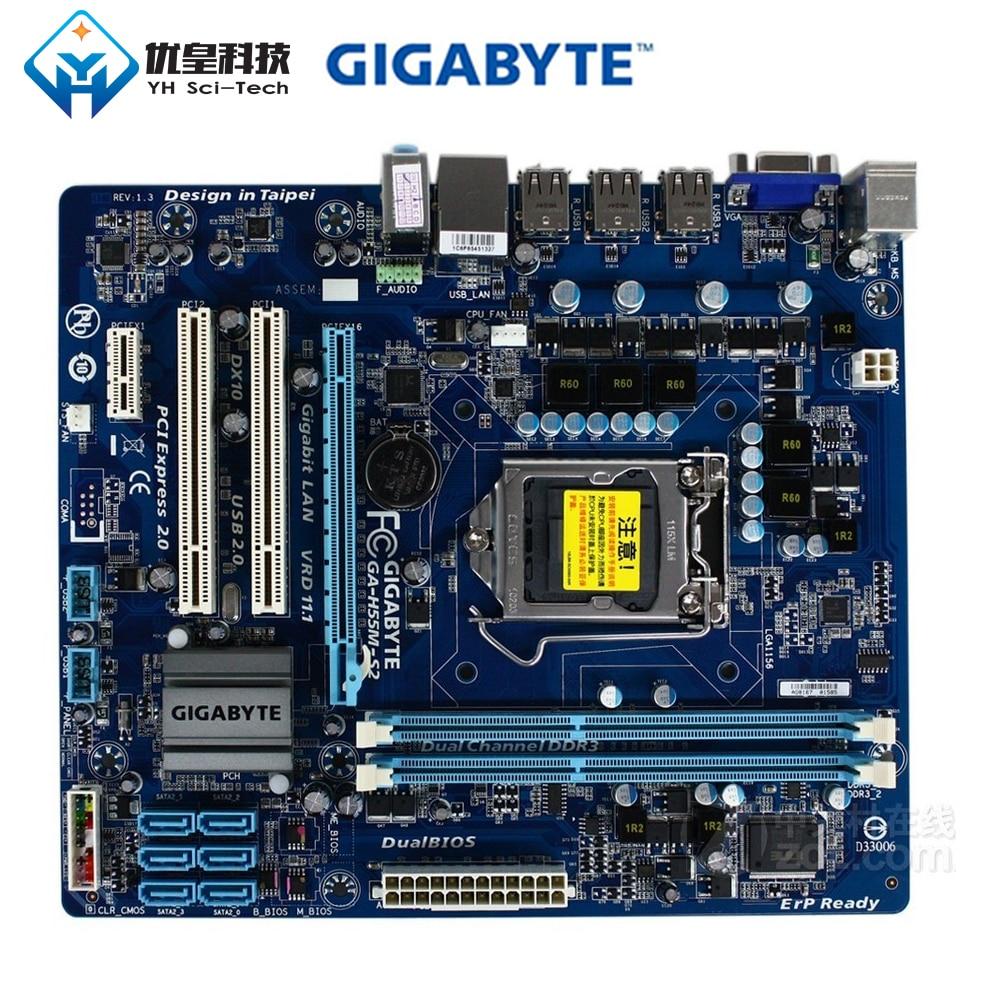 Original utilisé carte mère de bureau Gigabyte GA-H55M-S2 H55 LGA 1156 Core i7 i5 i3 DDR3 8G SATA2 USB2.0 VGA micro-atx