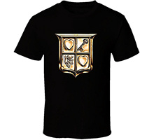 GILDAN T-shirt Male Hipster Tops The Legend Of Zelda Link Shield T Shirt – Black