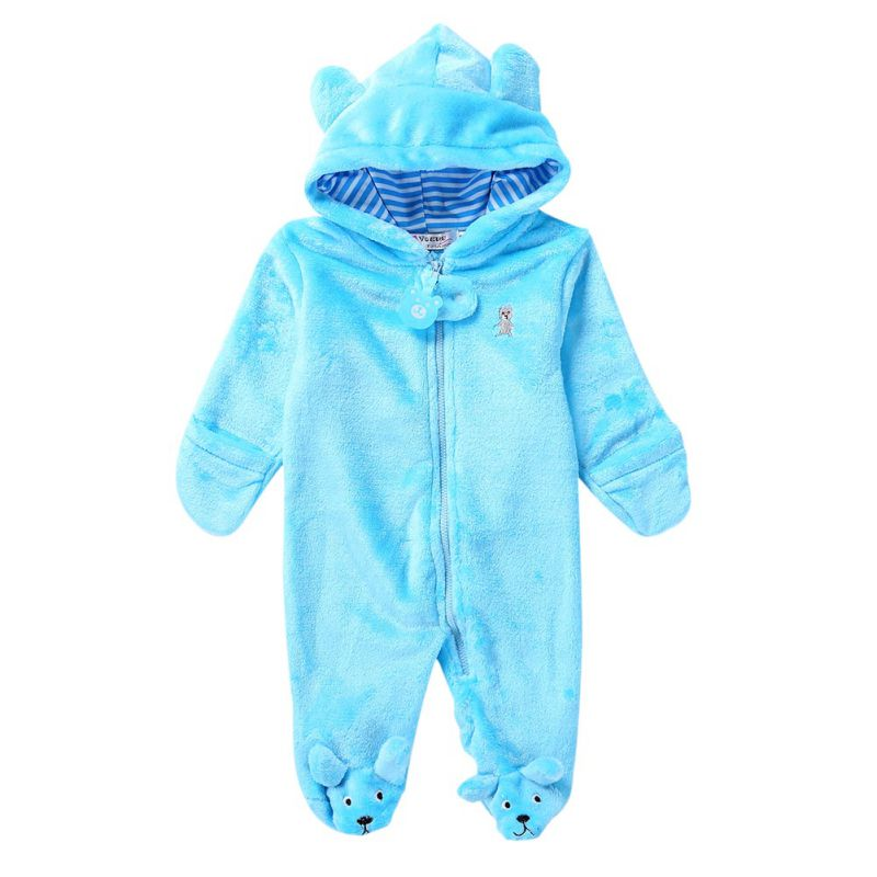 HTB1A9loeBGE3KVjSZFhq6AkaFXan Baby Rompers Winter Warm Longsleeve Coral Fleece Newborn Baby Boy Girl Clothes Infant Jumpsuit Animal Overall Pajamas