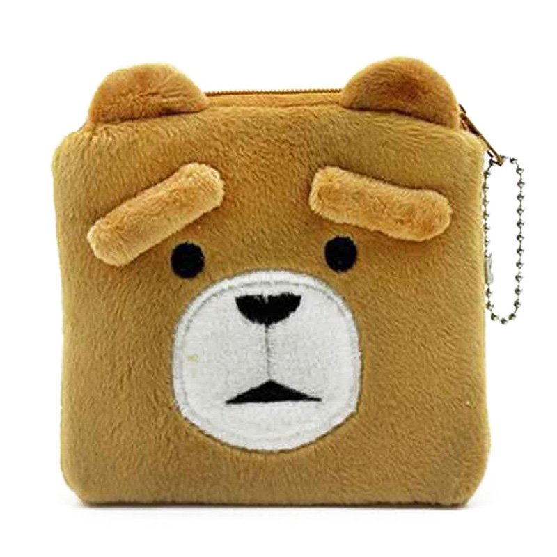 XYDYY Cartoon Brown Bear Women Kids Plush Coin Purses Winnie the Pooh Small Change Pouch Wallets Girls Purse Handbag Wallet Bags