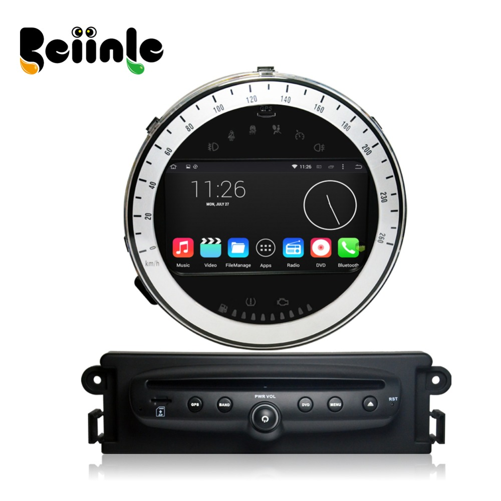 Beiinle 7 2 Din Android quad core 1024*600 16G touch screen stereo GPS navigation DVD radio player for Mini Cooper 2011 2013
