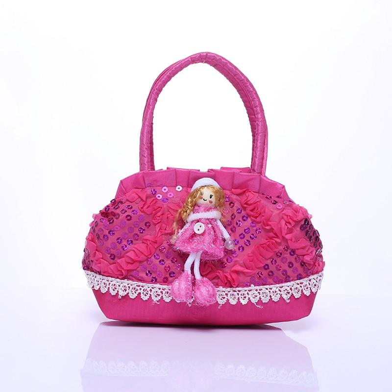 Cartoon Little Girl Bag Doll Zipper Handbag Girls Kids Mini Sequins Party Handbags Bags For Baby Children Gifts handbag