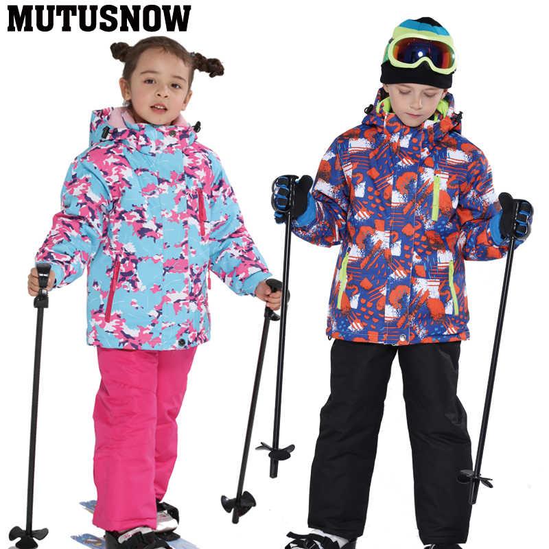 2019 çocuklar kayak takım elbise çocuk markaları rüzgar geçirmez su geçirmez sıcak kızlar ve erkekler kar seti kış kayak ve snowboard ceket pantolon