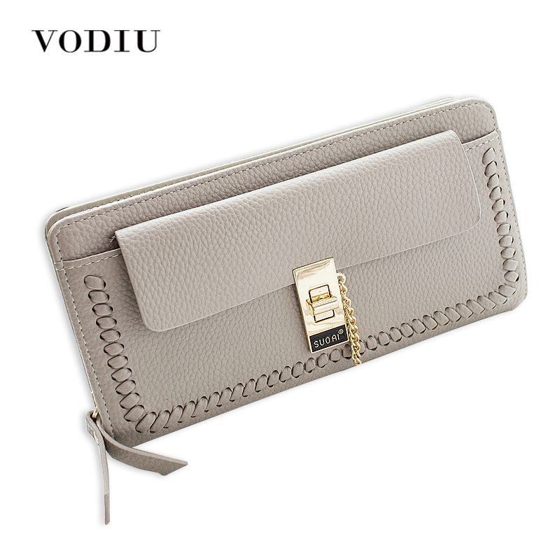 2017 Minimalist Luxury Lock Chain Zipper Women Leather Long Wallet Female Clutch Purse Wristlet Price Dollar Card Holder Phone contact s genuine leather women wallet dollar price phone pocket card holder female zipper clutch coin purse ladies wristlet
