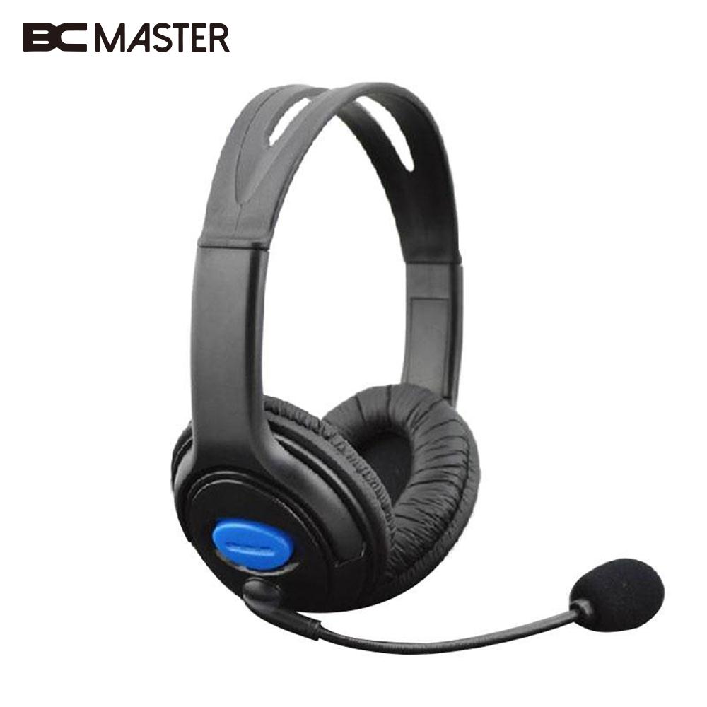 BCMaster Wired Stereo Headset Headband Headphone for Sony PS4 Earphone with Mic Microphone Superbass Black Game Earphones