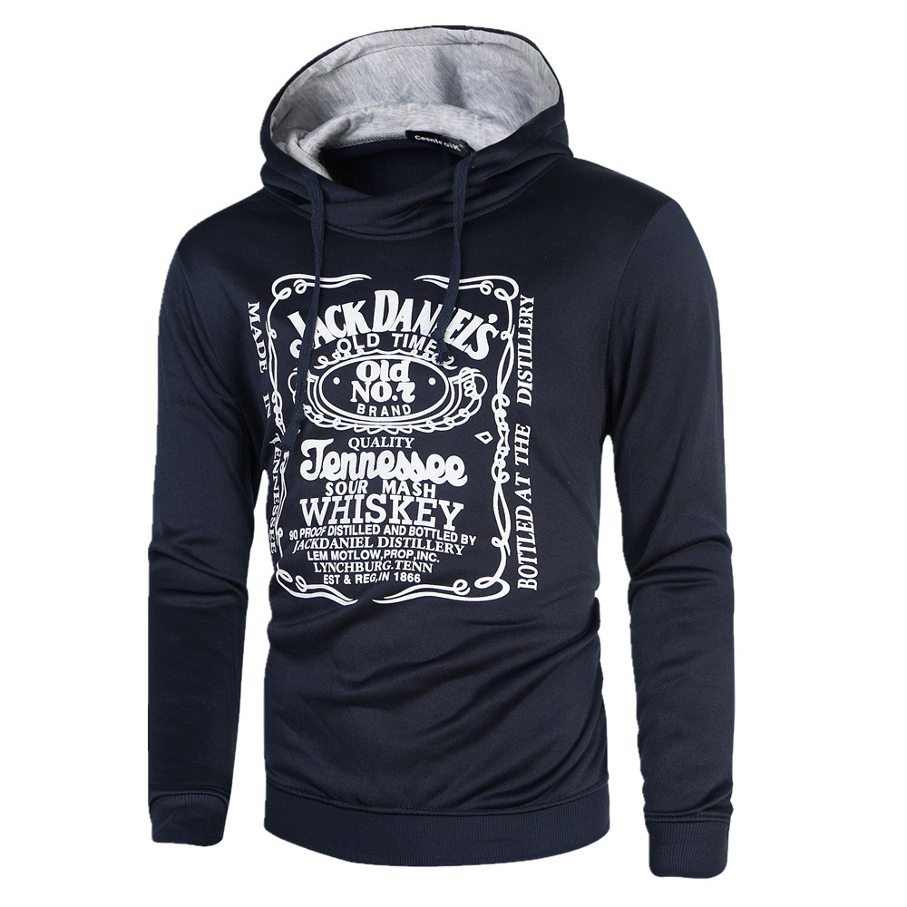 HD DST 2016 autumn and winter new men s hoodies fashion casual slim fit cotton printing