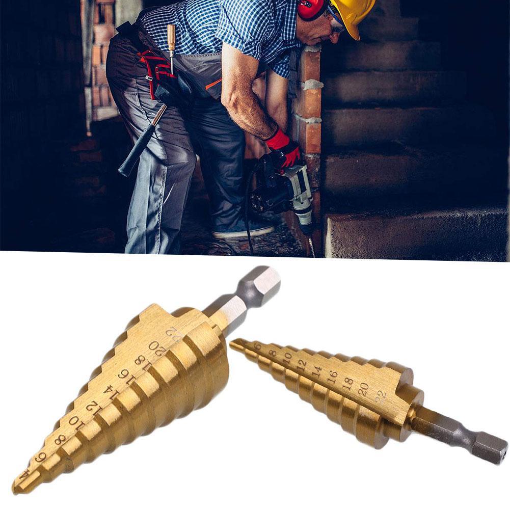 1pcs HSS Titanium Coated 4-22mm Step Cone Drill Bit Metal Wood Conical Cutter Tool Step Drill Bit