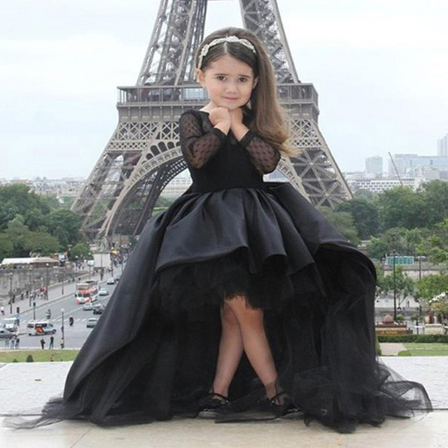 468bf39b5bb4 Black Kids Evening Gowns 2017 Kids Pageant Dresses See Through Back Long  Sleeve Baby Ball Gown Flower Girl Dresses