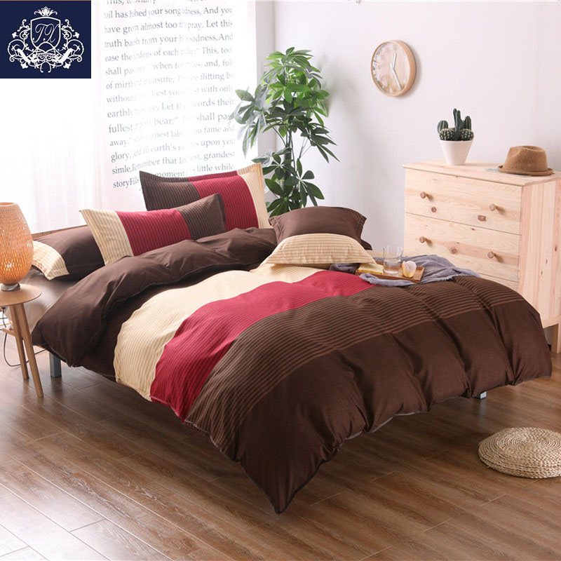 2017 red and brown plaid bedding sets double cotton blend for Housse de couette king size