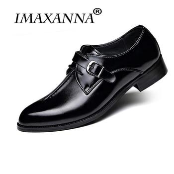IMAXANNA New Men Dress Shoes Formal Wedding Genuine Leather Shoes Retro Brogue Business Office Men's Flats Oxfords For Men 1