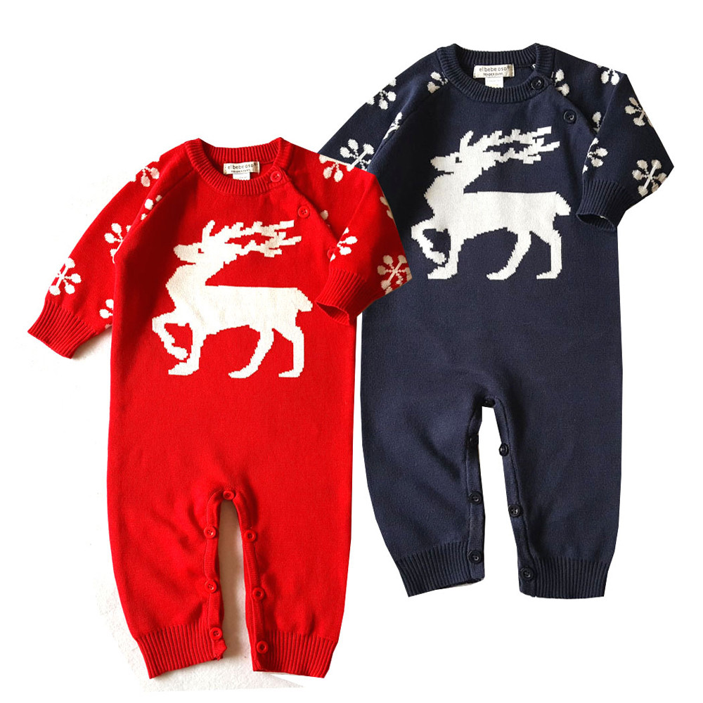 0-24 Months Baby Christmas Rompers Cartoon Design Deer Cotton Sweater Infant Girl Boy Jumpers Kids Baby Outfits Clothes #ES