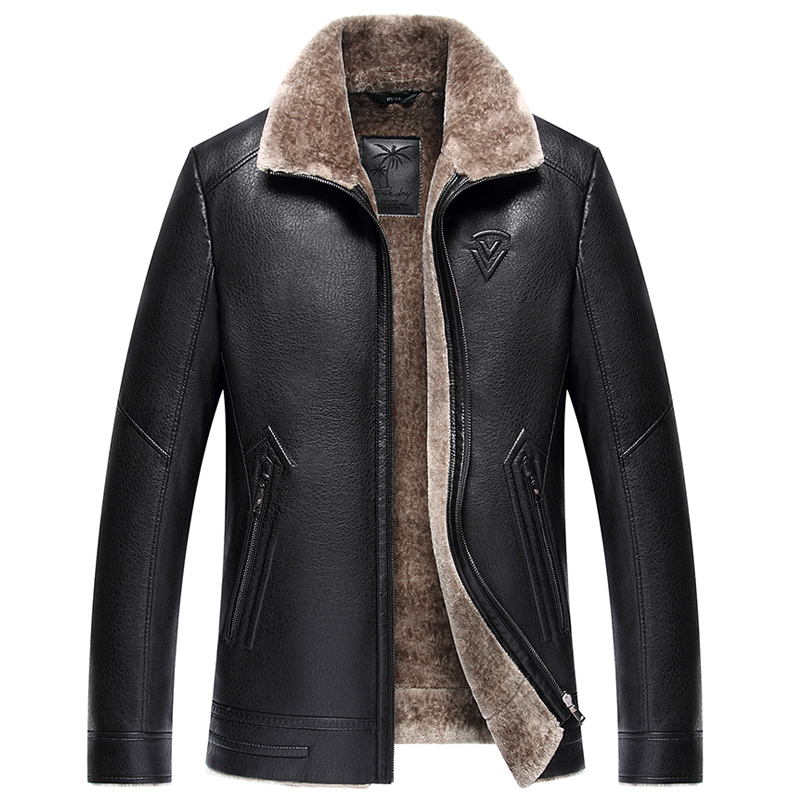 Russian winter minus 40 degrees Faux leather jackets men Thicken Warm leather coat Top quality luxury leather jackets men