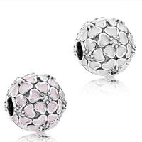 925 Sterling Silver Beads Soft Pink Enamel & Clear CZ Cherry Blossom Clip Charm Fits Pandora Snake chain bracelet XGP312