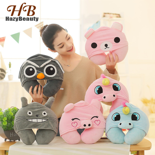 Unicorn Cute Cute Cartoon U Shaped Travel Pillows Totoro Cat Soft Hooded Neck Pillow Office Rest Cushion with A Hood